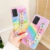 silicone rainbow wriststrap phone case for samsung galaxy a52 a72 s21 s20 fe plus note 20 ultra finger grip soft hand band cover