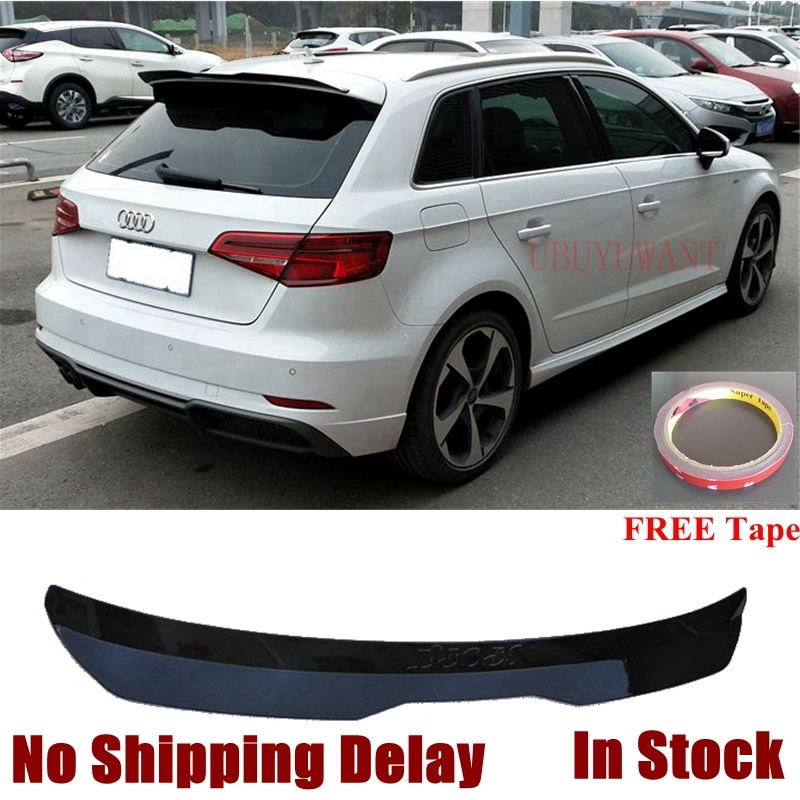 for honda civic spoiler 2016 2017 type r style car decoration rear roof tail wing abs plastic black carbon fiber pattern spoiler UBUYUWANT Fake Carbon Fiber Rear Roof Lip Spoiler For Audi A3 2014 2015 2016 2017 2018 2019 ABS Painted Spoiler Tail Trunk Wing