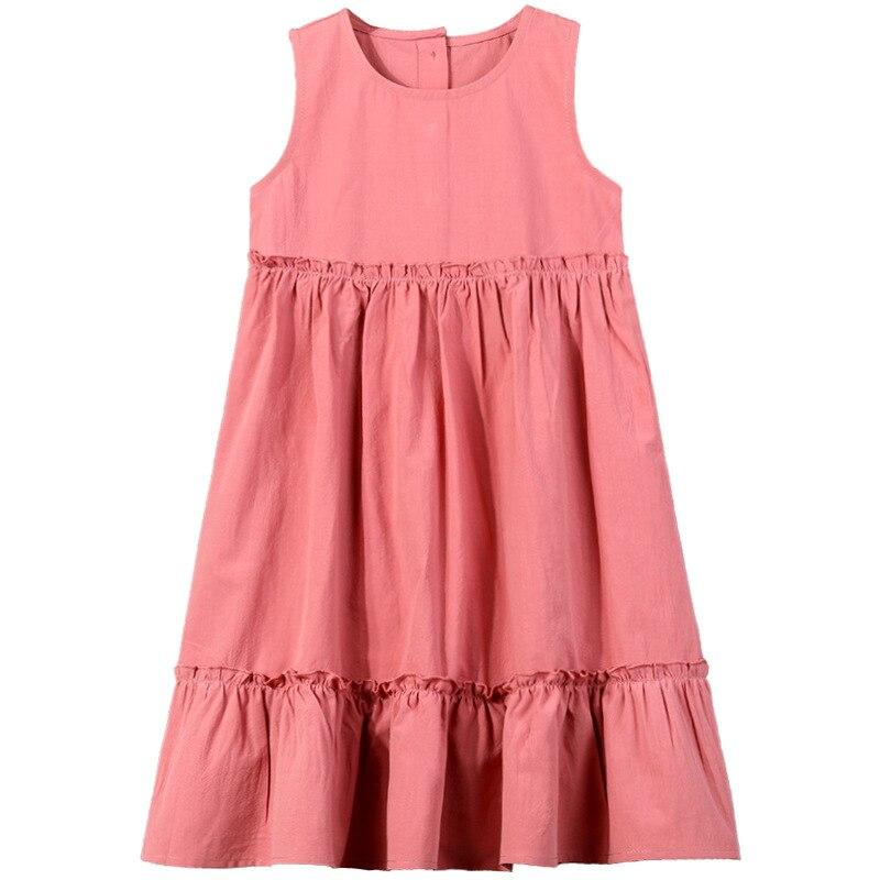 Новое летнее милое платье для девочек из 100% хлопка, Детские вечерние платья для девочек, многослойное платье-пачка без рукавов с круглым выр...