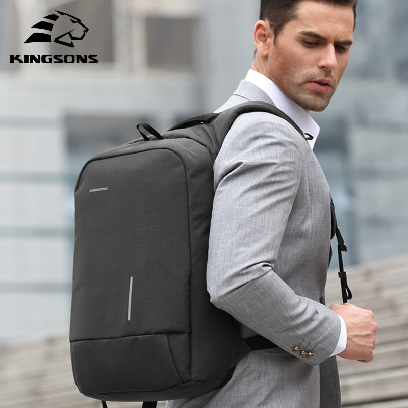 kingsons 15 inch laptop backpacks usb charging anti theft backpack men travel backpack waterproof school bag male mochila Kingsons Men's Backpack Fashion Multifunction USB Charging Men 13 15 inch Laptop Backpacks Anti-theft Bag For Men