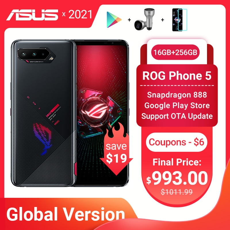 Перейти на Алиэкспресс и купить Новая глобальная версия ASUS ROG Phone 5 Snapdragon888 16 Гб Оперативная память 256 ГБ Встроенная память 6000 мА/ч, 65 Вт NFC Android Q OTA Update игровой телефон ROG5