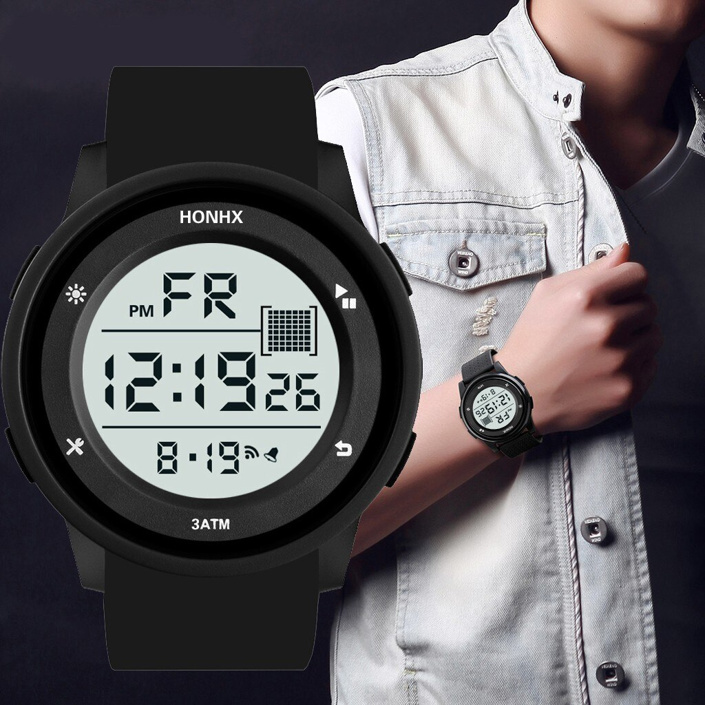 Los hombres electrónica reloj de moda impermeable escalada al aire libre LCD cronómetro digital Fecha de deportes regalo часы мужские 50 *