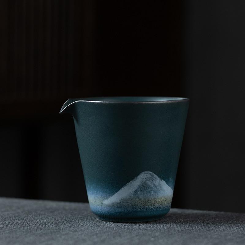 Utensílios de tinta do tard-ming e early-qing dynasties jarro manual do vintage cerâmica bule de chá gong bei fair cup kung fu chá chahai