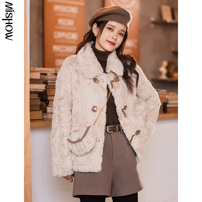 CMAZ 2020 Winter Parkas For Women Solid Fur Jackets Long Sleeve Short Thick Overcoats Female Outdoor