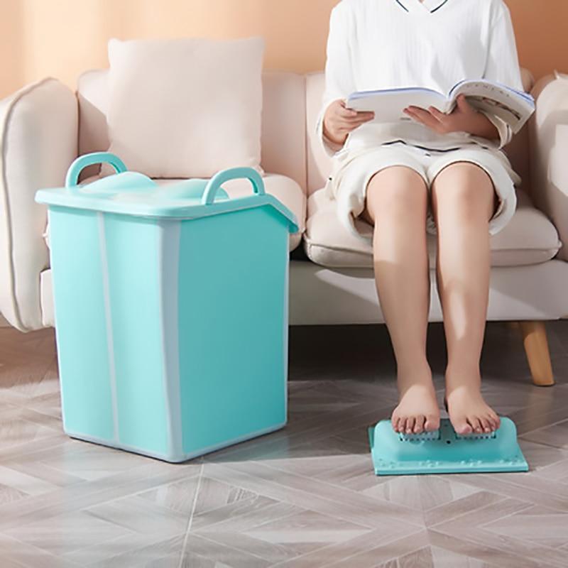 Foot Basin Foot Bath Soak Foldable High-water Foot Bath Barrel Massage Large Heightening Foot Bath with Lid Collapsible Foot Tub