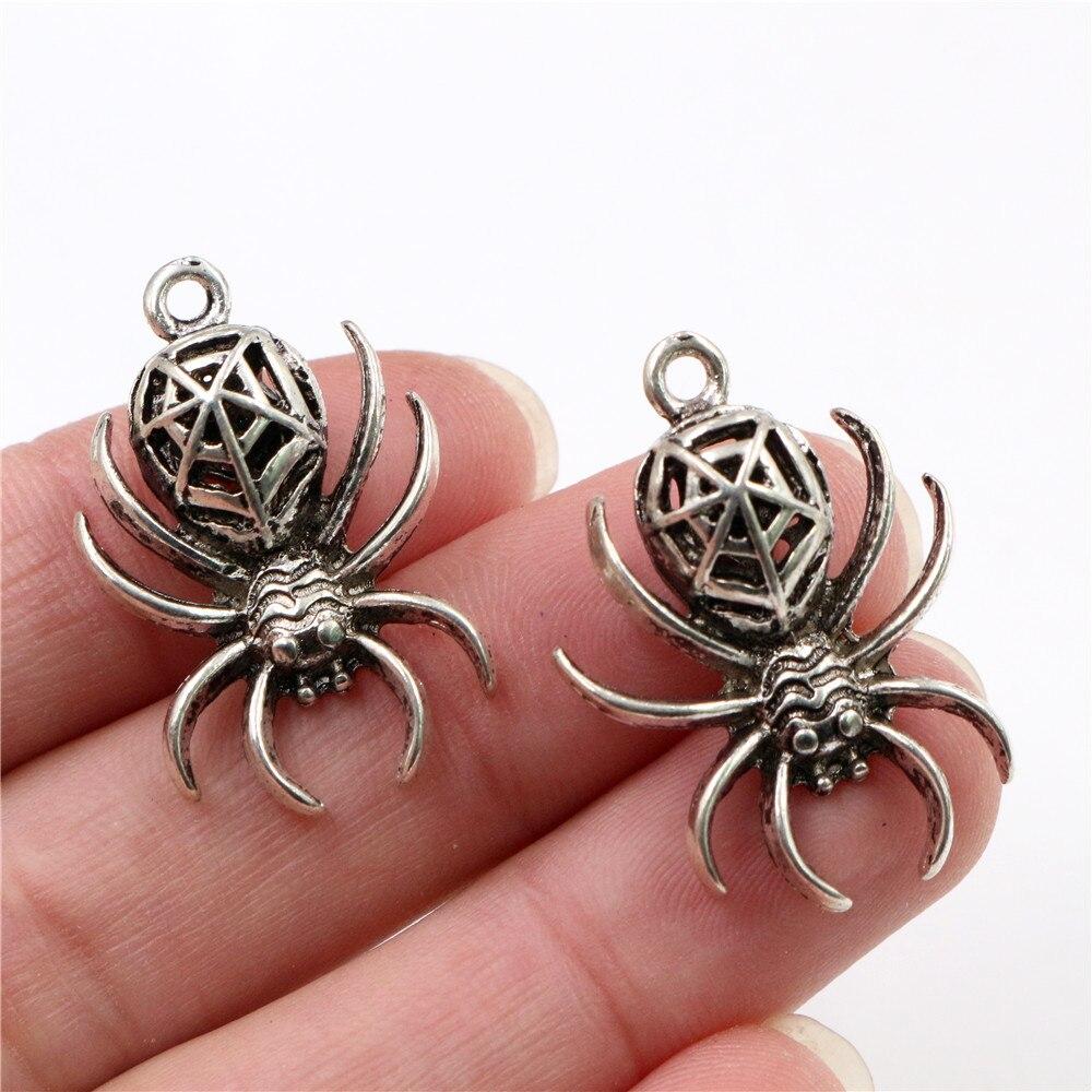 30x20mm 4 Uds. Colgante de abalorios hechos a mano en tres dimensiones de araña Chapado en plata antigua DIY para pulsera necklace-Q3-13
