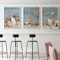 marine life painting conch starfish retro posters and prints canvas wall art pictures for living room home decorno frame