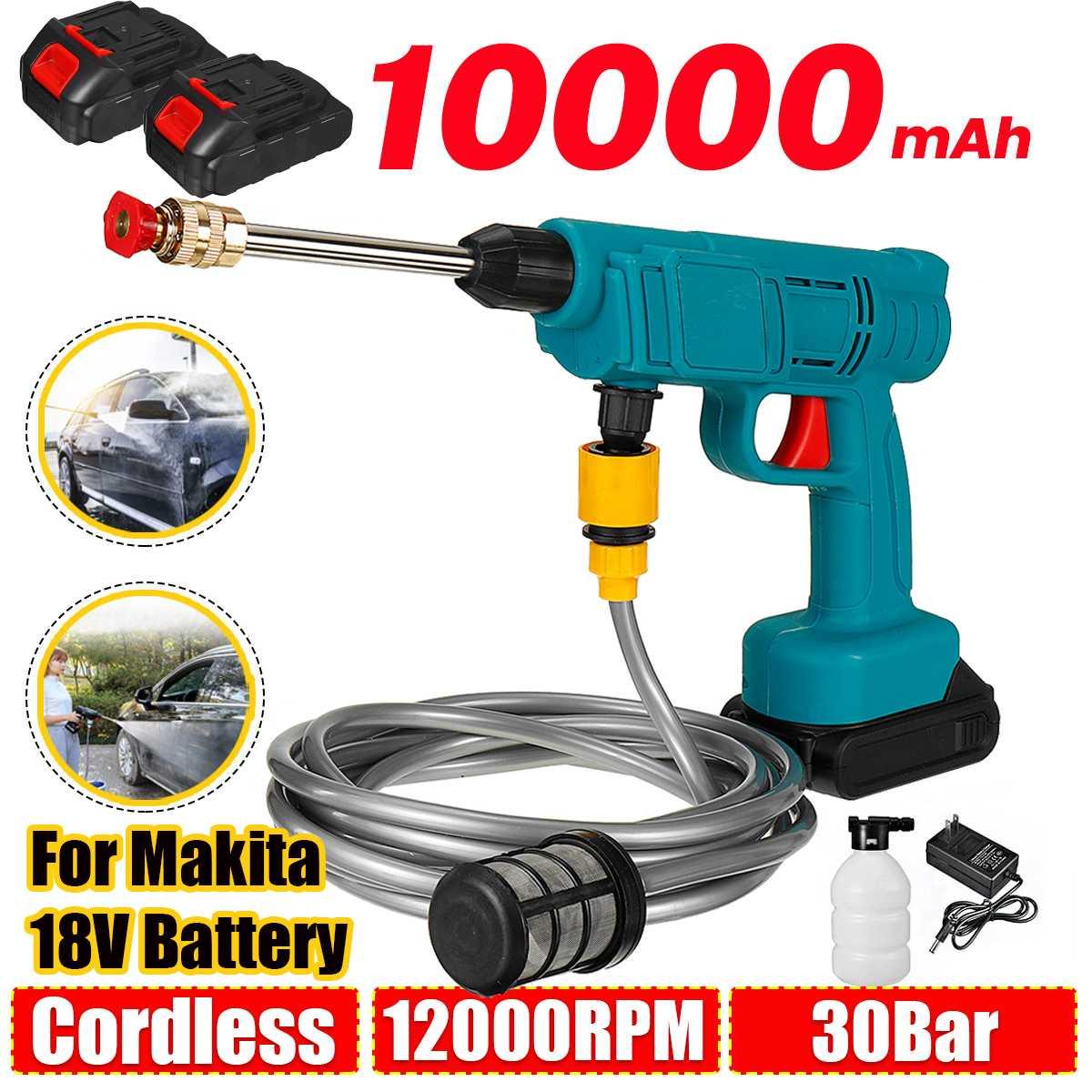 30Bar 10000mAh اللاسلكي الكهربائية جهاز تنظيف يعمل بالضغط العالي قابلة للشحن السيارات غسيل السيارات بندقية رذاذ مدفع المياه للبطارية ماكيتا 18 فول...