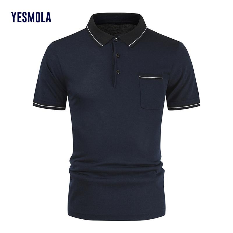 YESMOLA Men Polo Shirts Fashion Solid Shirt Mens Stripe Collar Casual Business Loose Large Short Sleeve T-shirt