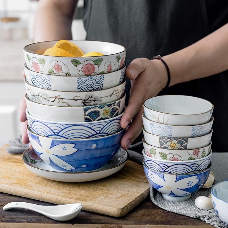 6.5 inch Japanese Ramen Bowl Ceramic Noodle Bowl Flower Fruit Dinnerware Round Soup Bowl 800ml