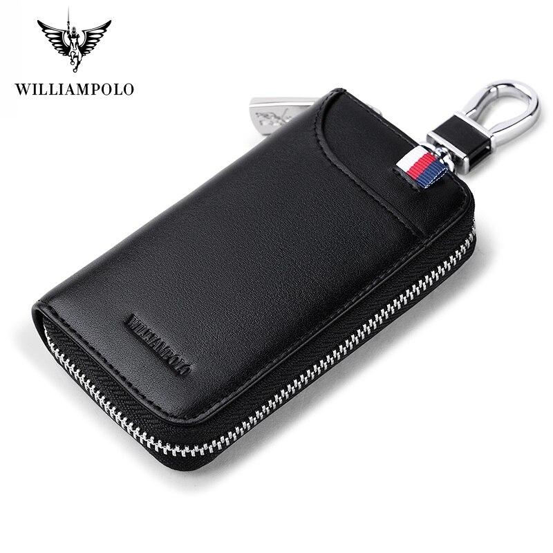 WilliamPolo-حافظة مفاتيح متعددة الوظائف للرجال ، محفظة رجالية ، سعة كبيرة ، حقيبة تخزين عالمية من جلد البقر