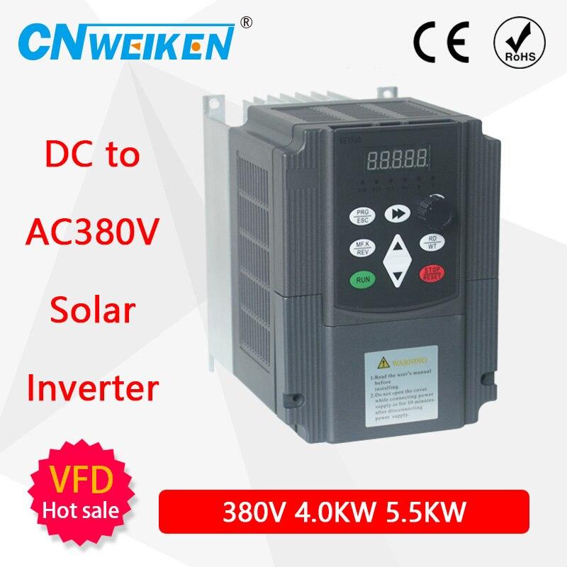 Inversor de frecuencia Variable solar de onda de entrada de 380V de 3 fases, Unidad de velocidad de 2,2 kW para Motor de bomba de agua eléctrica trifásica de CA