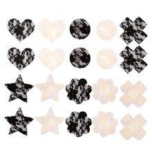 10 paires femmes femmes différentes formes dentelle jetables Pasties coeur étoile croix mamelon couverture auto-adhésif sein mamelon couvertures