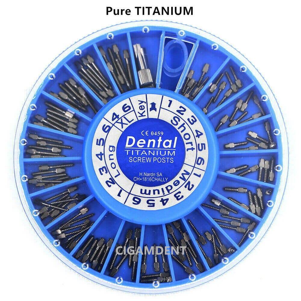 120 قطعة/صندوق الأسنان الجذر قناة دبابيس مخروطي وتاد لولبي عدة التيتانيوم النقي بعد الأساسية تاج إصلاح