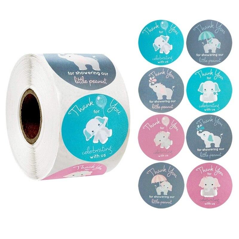 Adesivo de elefante dos desenhos animados, para comemoração com nós, 1 rolo de 8 tipos de rótulos, etiqueta para envelope, selo, papelaria adesivo