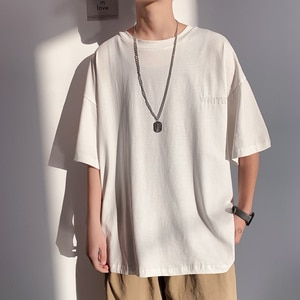 Short Sleeve Black White Loose T Shirt Men'S 2021 Summer Classic Solid Tshirt Top Tees Casual Clothes Plus OverSize M-5XL O NECK