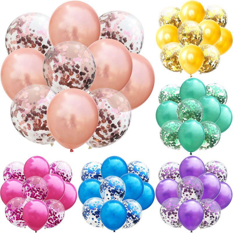 10 globos de látex de 12 pulgadas y confeti de colores, decoraciones...