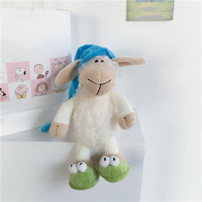 25-35cm Nightcap sheep sleepy Wear a hat and sheep Stuffed Plush Toy, Baby Kids Doll Gift Free Shipping