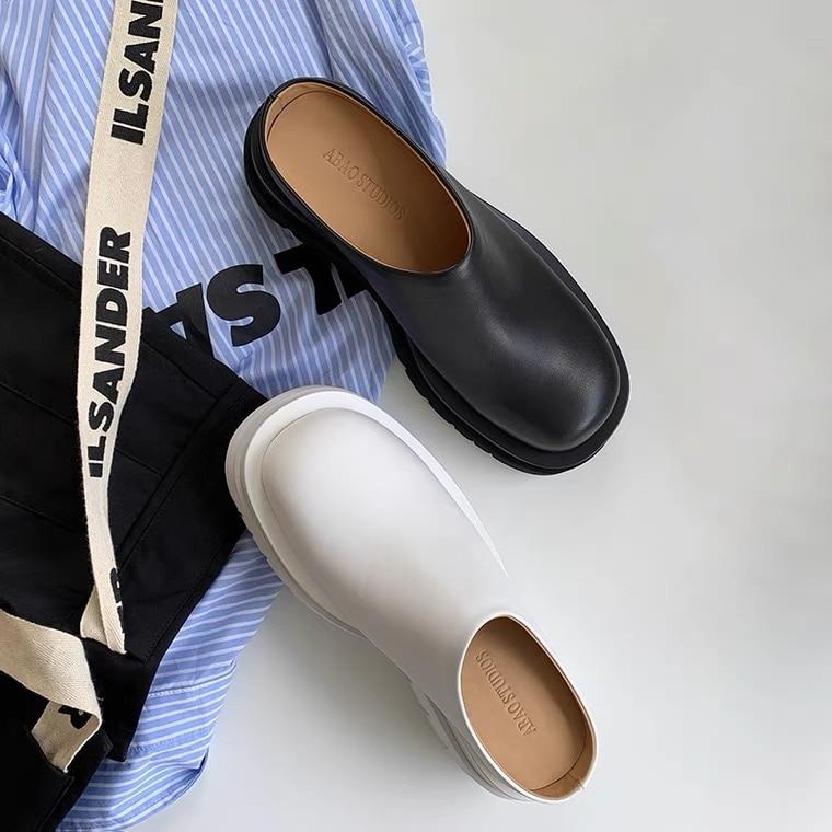 النساء النعال الصيف موضة مغلق تو أحذية من الجلد المتسكعون عالية منصة النعال النساء السود عالية الكعب Zapatillas Mujer