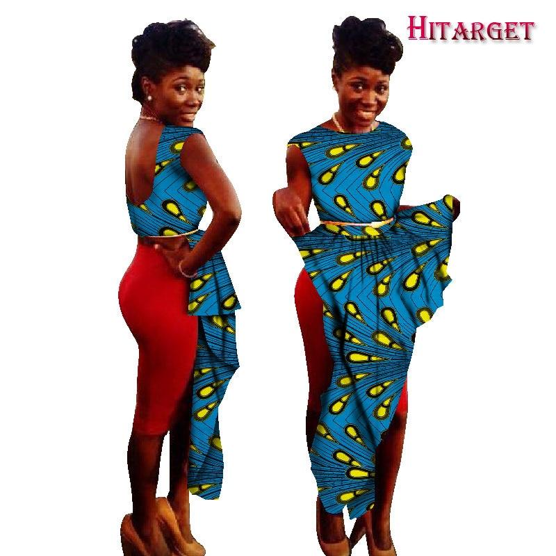Новые африканские платья с рисунком Bazin, платья с круглым вырезом, ассиметричные платья с рисунком, африканская традиционная одежда WY1052