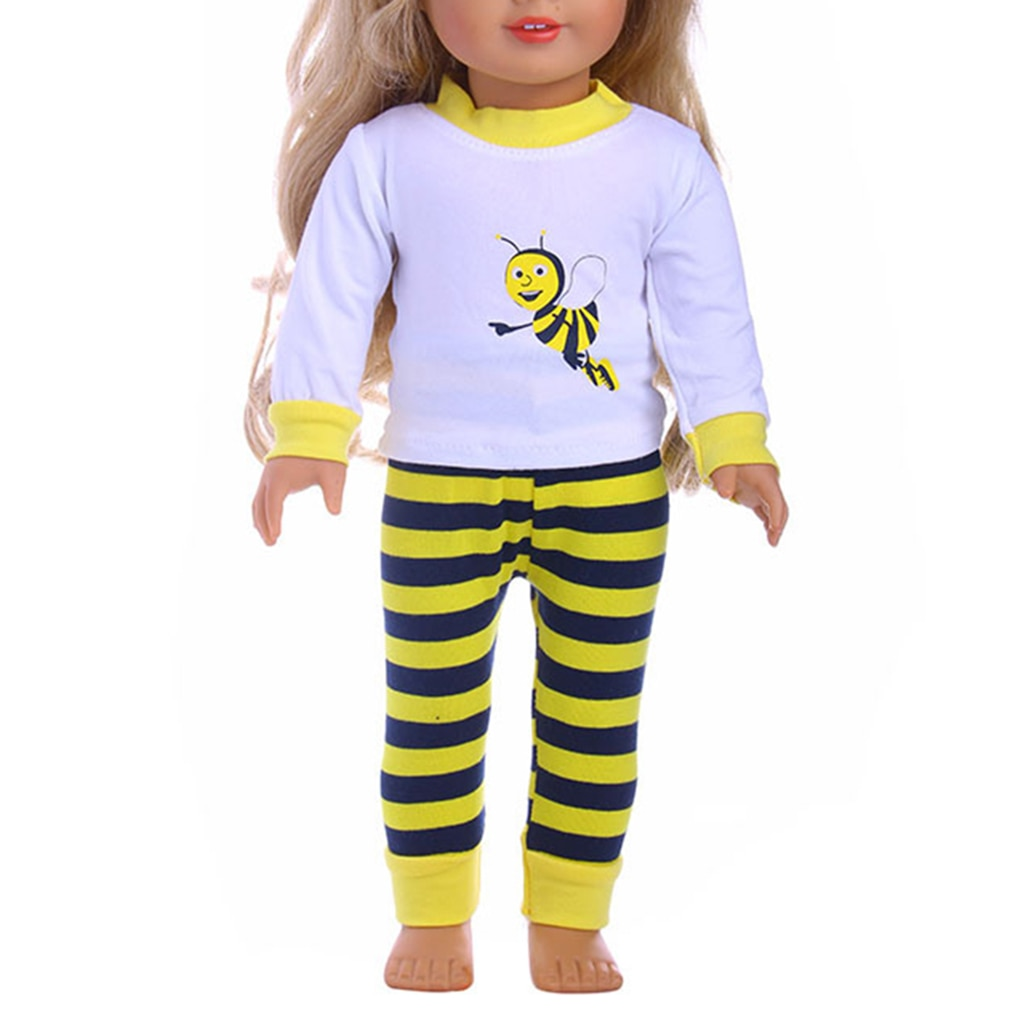 Pijama para muñeca de 18 pulgadas con dibujos animados de manga larga y parte inferior, accesorio para ropa de muñeca