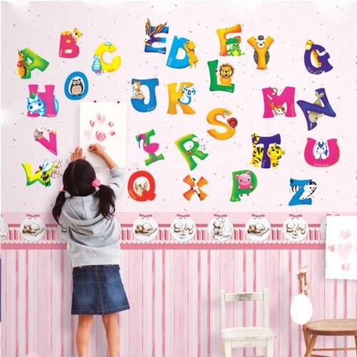 A-Z Alphabet Buchstaben Tiere Wandbild Wand Aufkleber für Kinder Zimmer Aufkleber Kindergarten Schlafzimmer Decor Schule Klassenzimmer Hintergrund Inall