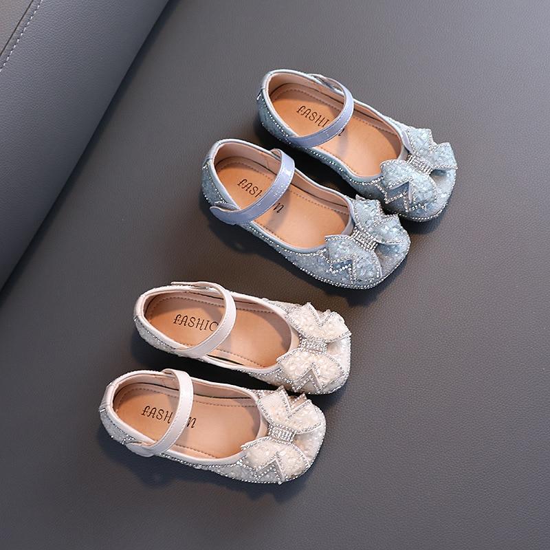 الخريف الفتيات أحذية من الجلد حجر الراين القوس الأميرة أحذية الرقص حذاء للأطفال
