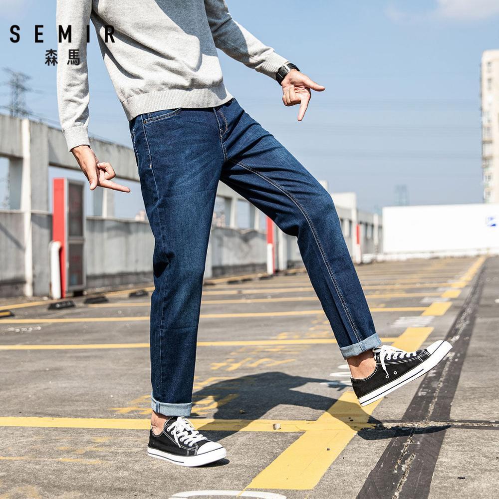 SEMIR 청바지 남성용 슬림 피트 바지 클래식 2020 청바지 남성 데님 청바지 남성 디자이너 바지 캐주얼 스트레이트 신축성 바지