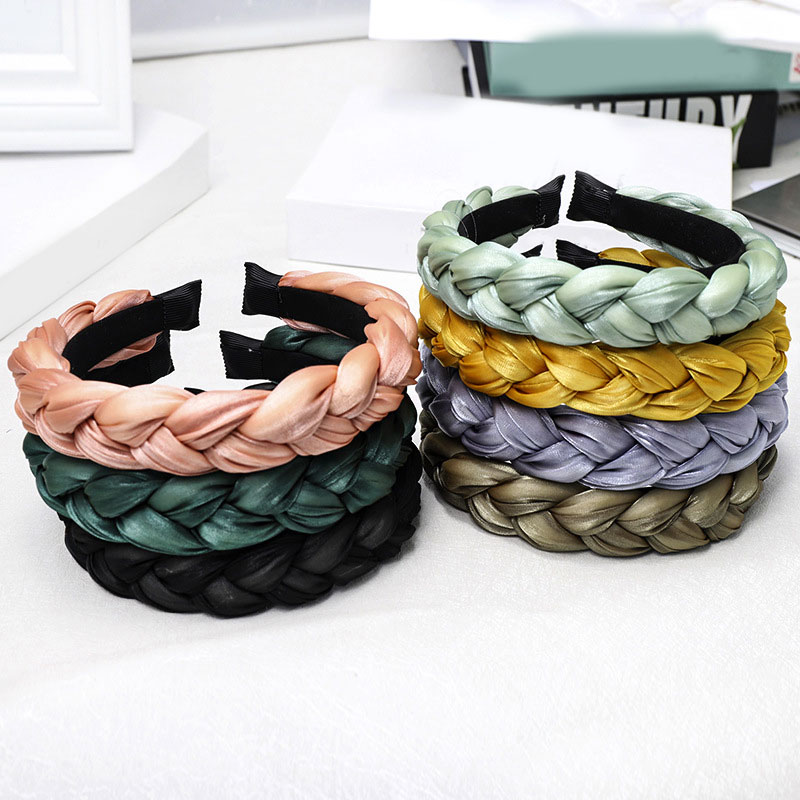 Candy Satin Satin Braided Resin Hairbands for Women Girls Kids Elastic Solid Satin Hair Bands DIY He