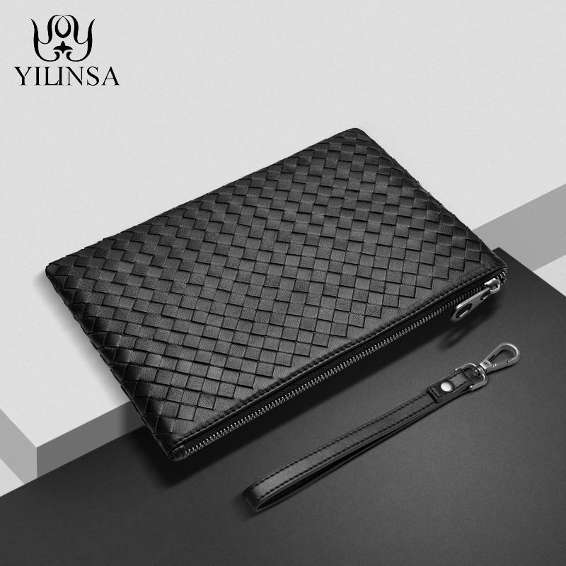 YILINSA 100% Sheepskin Genuine Leather Clutch Bag Men Wallet With Hand Strap Fashion Designer Soft L