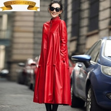 Women Jackets Geniune Leather Sheepskin Leather Trench Coat Warm Thick Down Cotton Jaqueta Feminina