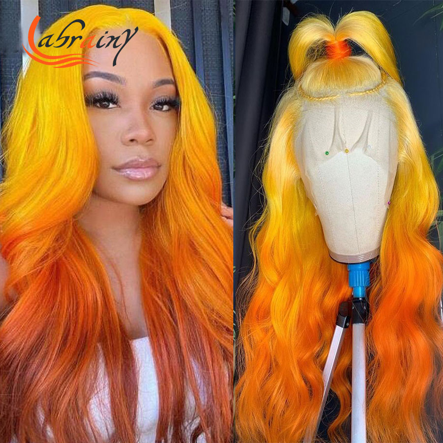 13x4 Body Wave 40 дюймов Омбре Имбирно-желтый Hd кружевной передний парик оранжевые кружевные передние волнистые человеческие волосы парик полноцв...