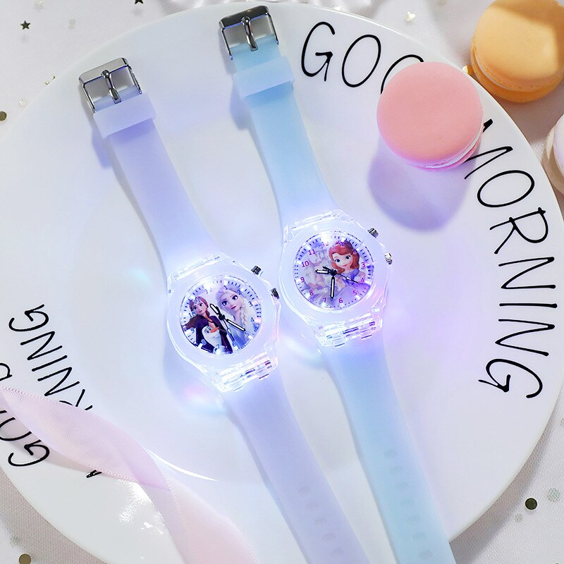 Disney Frozen Watch Princess Aisha Children's Luminous Watch Student Silicone Colorful Lights Watch gifts for girls kids watches