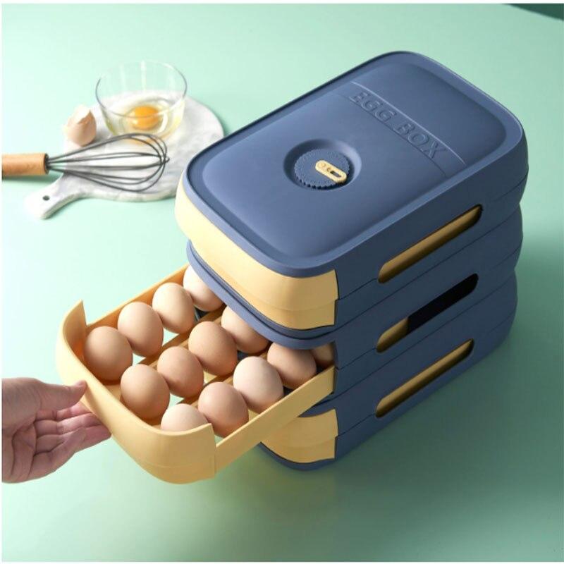 ثلاجة صندوق تخزين البيض المتداول درج نوع صندوق بيض المنزلية الطازجة حفظ الإبداعية المطبخ الغذاء المنظم سعة كبيرة