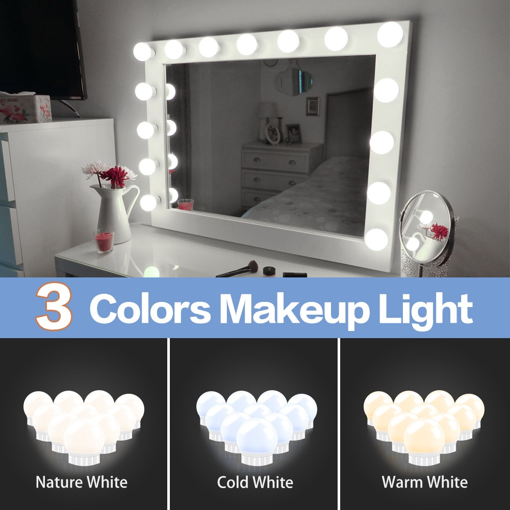 3 Modes Colors Makeup Mirror Light Led Touch Dimming Vanity Dressing Table Lamp Bulb USB 12V Hollywo