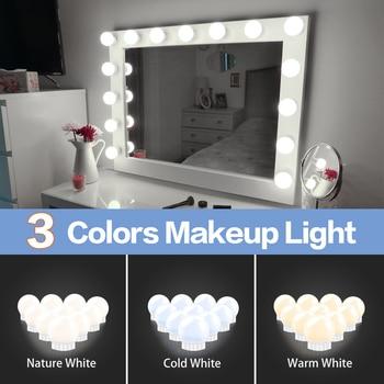 Lampe Led tactile pour miroir de maquillage Hollywood, 3 Modes de couleurs, lumière à intensité réglable, ampoule USB 12V, pour coiffeuse