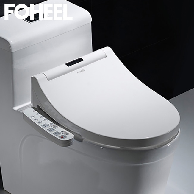 FOHEEL Electric Bidet Cover Led Light Wc Smart Bidet Heating Sits LCD Intelligent Toilet Seat Elongated