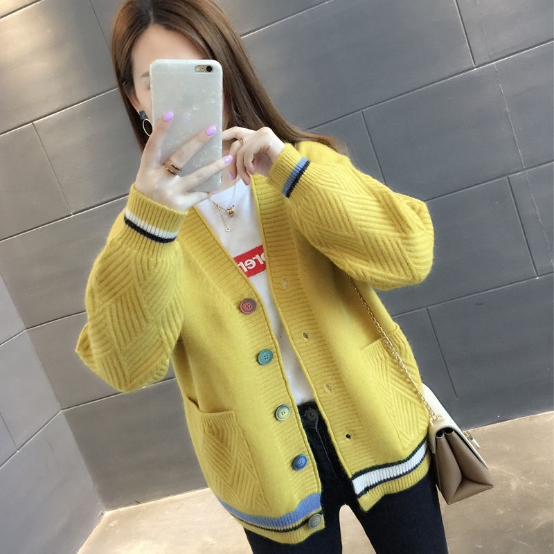 Sweater Jacket Women 's Short Style 2020 Spring and Autumn New Women 's Clothing Korean Version Loose Wear Knitted Cardigan Vers enlarge