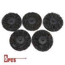 """5PCS 3 """"75mm Schnell Ändern Roloc Einfach Streifen & Sauber Discs Schwarz für Farbe Rost Entfernung Auto oberfläche Prep"""