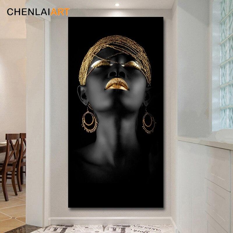 Impressão em tela moderna mulher negra modelo de pintura da parede arte cartaz e impressões fotos decoração para casa sala estar sem moldura