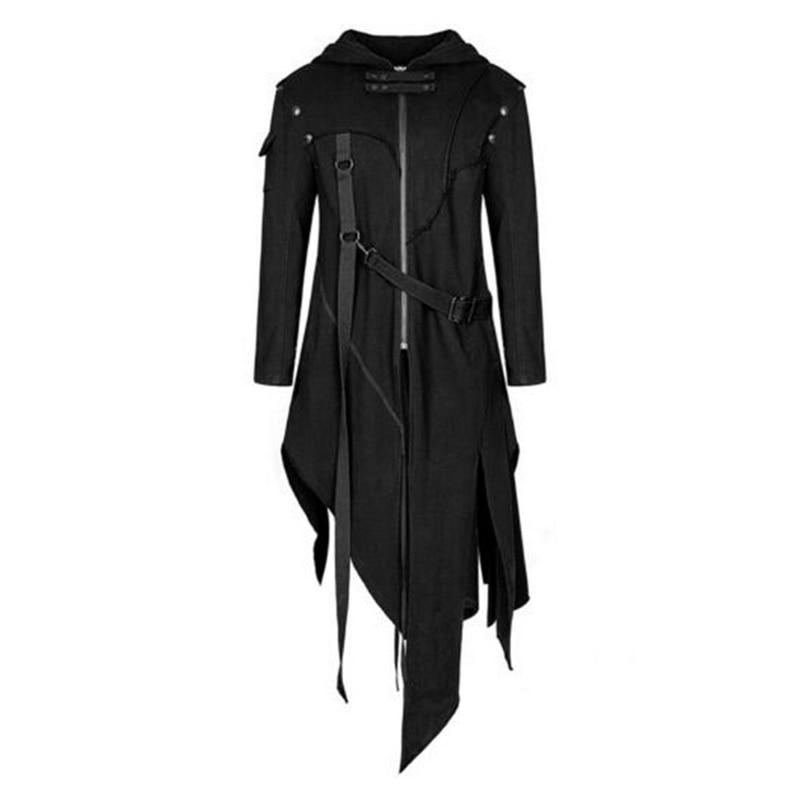 Autumn Winter Men Trench Hip Hop Split Jackets Gothic Belt Swallowtail Coat Long Sleeved Vintage Costume Long Stage Men Clothes