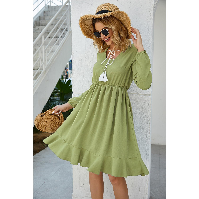 Vestido De Otoño De Manga Larga verde, informal