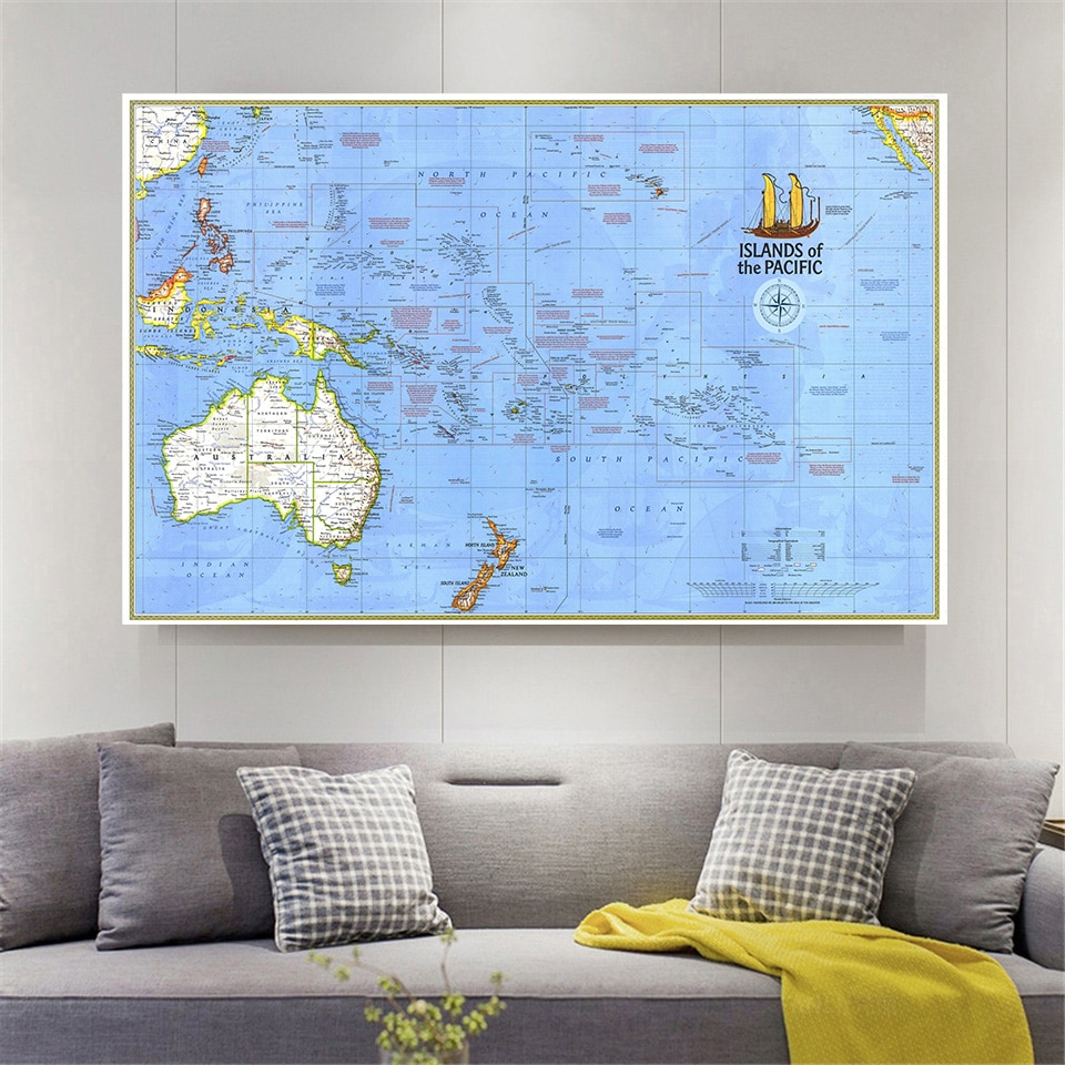 150*100 Cm 1974 The Pacific Islands Map Vintage Wall Art Poster Non-woven Canvas Painting Living Room Home Decor School Supplies