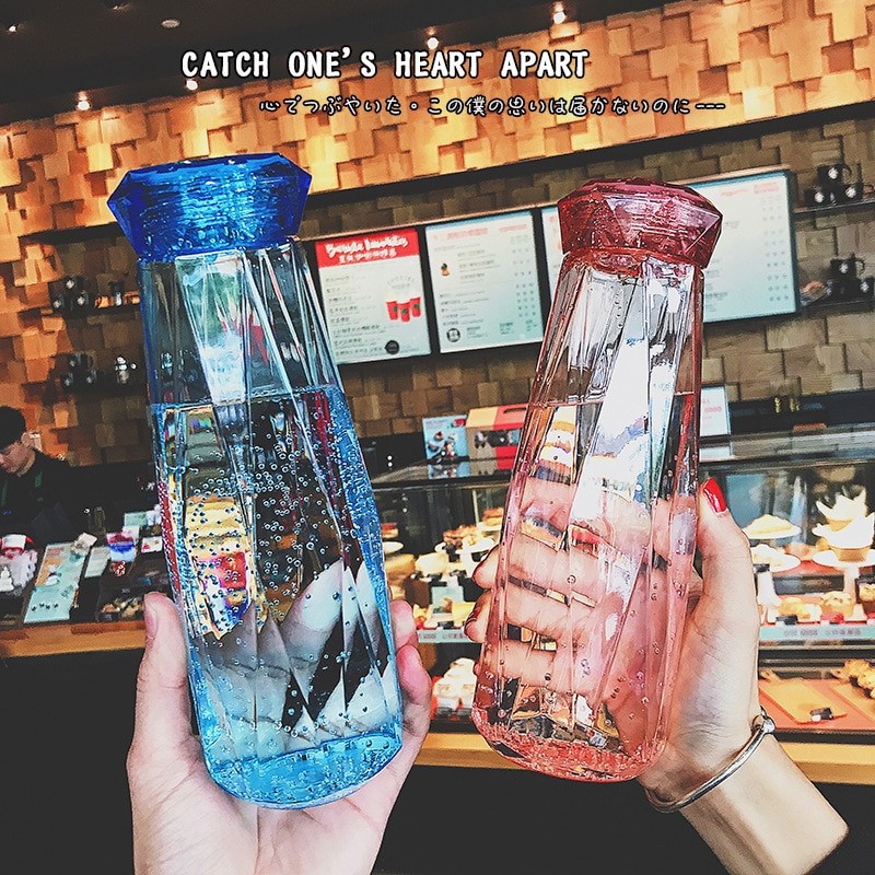 Taza de vidrio portátil de colores, vaso redondo transparente con dibujos animados...