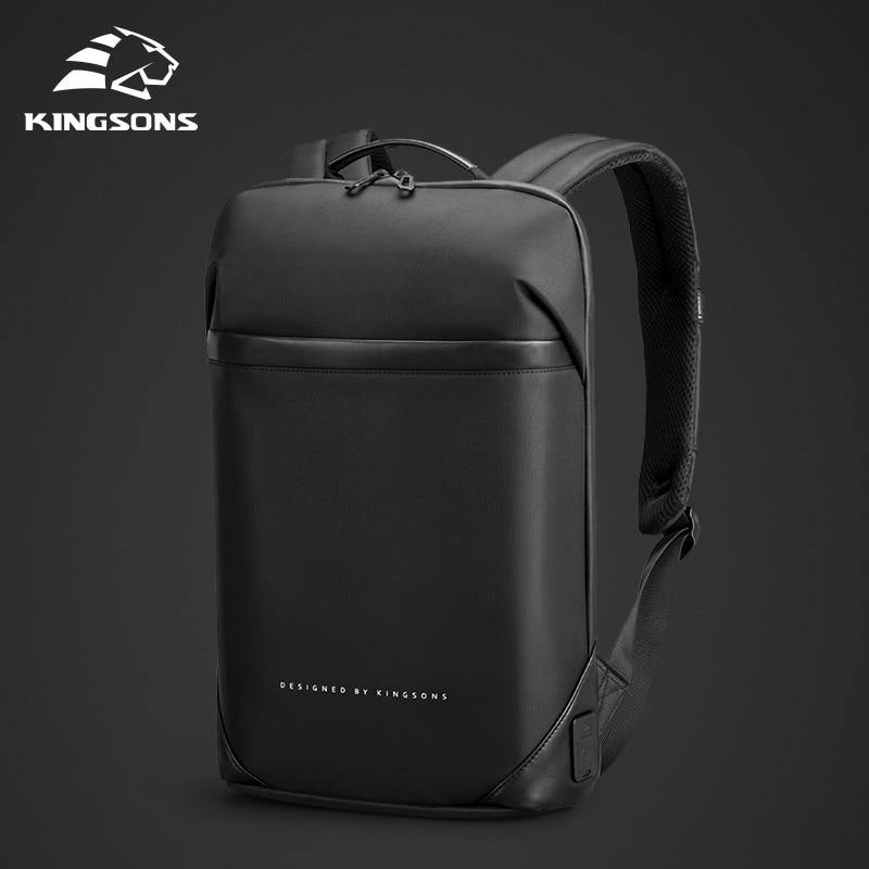Kingsons Slim Laptop Backpack Men 15.6 inch Office Work Men Backpack Business Bag Unisex Black Ultra
