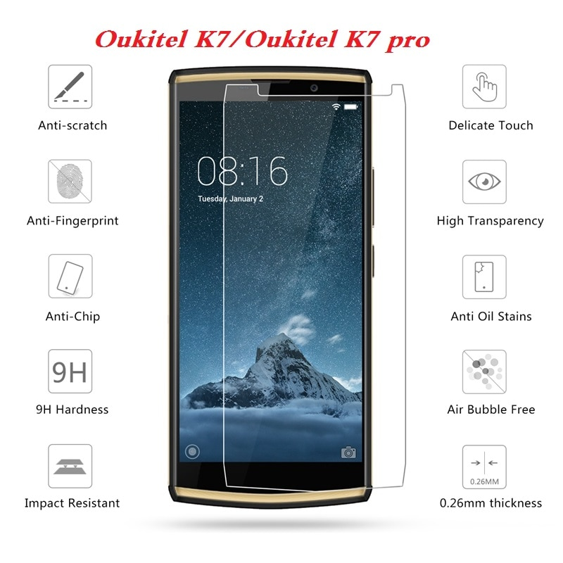 Para Oukitel K7 Pro vidrio templado Premium 9H 2.5D película protectora de pantalla de teléfono a prueba de explosiones para OukitelK7 móvil teléfono