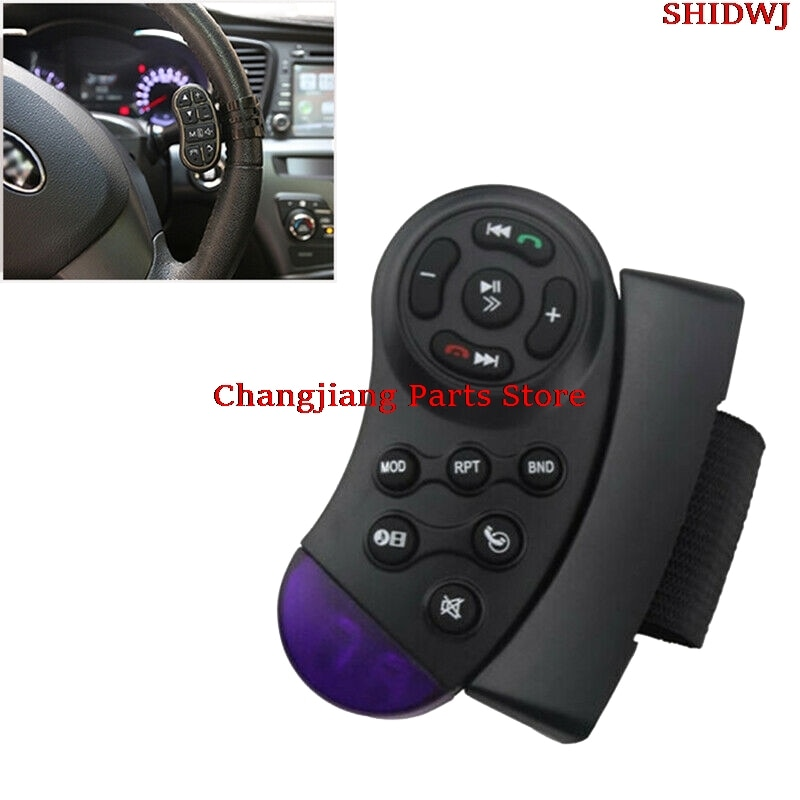 1pc Universal Car Steering Wheel Remote Control Switch Vehicle MP3 DVD Stereo Button