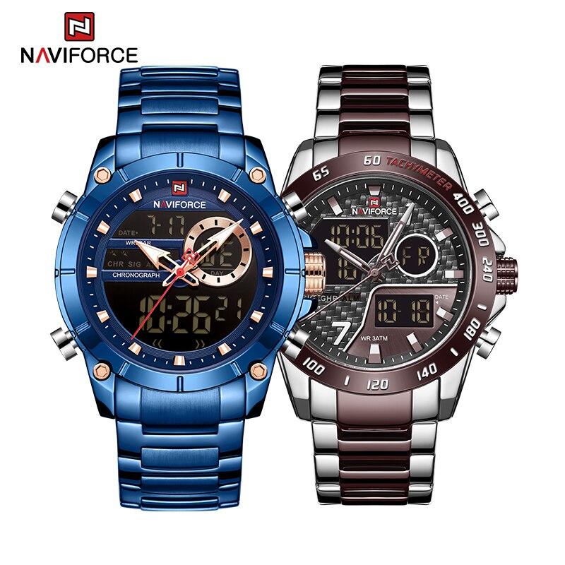 NAVIFORCE New Original Watches for Men Military Sport Quartz Wrist Watch Stainless Steel Waterproof Clock Luxury Male Watch 9163