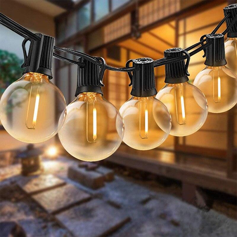 G40 LED سلسلة أضواء 25Ft LED لمبة E12 220 فولت 110 فولت ل فناء حديقة حفل زفاف عطلة خارج الديكور الغيار لمبات مصباح