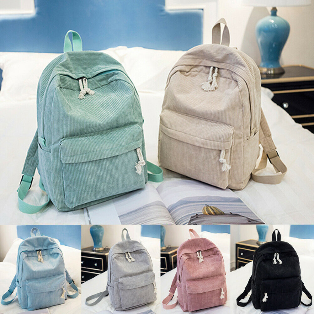 2019 New New Women Corduroy Travel School Backpack Satchel Bag Bookbags Shoulder Rucksack Large Capa